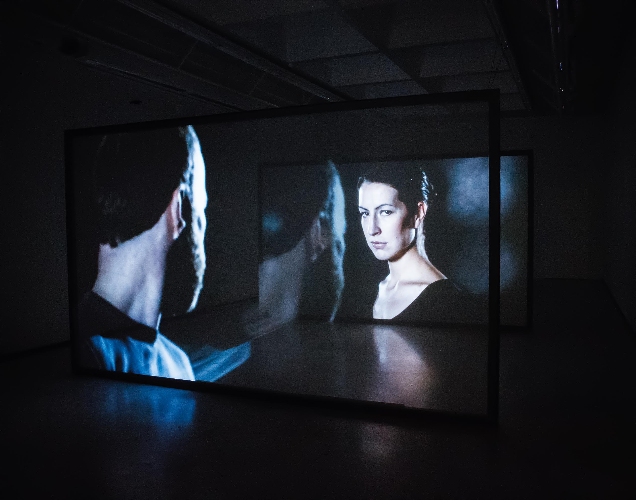 2 channel video installation with transparent screen.